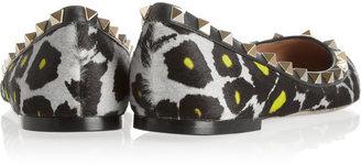 Valentino Rockstud leopard-print calf hair point-toe flats