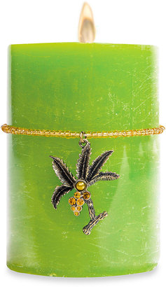 Bed Bath & Beyond Tropical Sunset Scented Pillar Candle with Palm Tree Charm on Beaded Band in Green