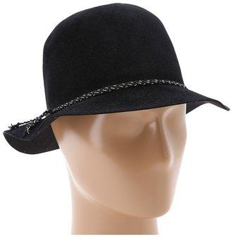 Hat Attack Velour Felt Crusher w/ Cord/Chain Braid Trim (Black/Black/Silver) - Hats