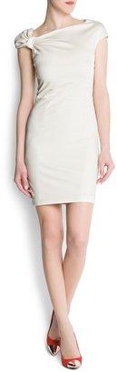 MANGO Draped shoulder dress