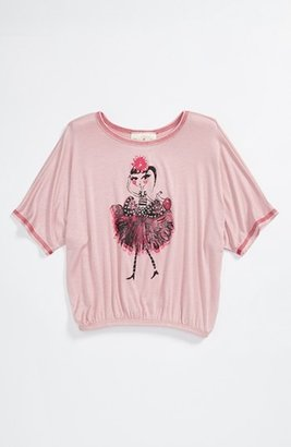 Jenna & Jessie Screenprint Tee (Little Girls) Dusty Rose 6
