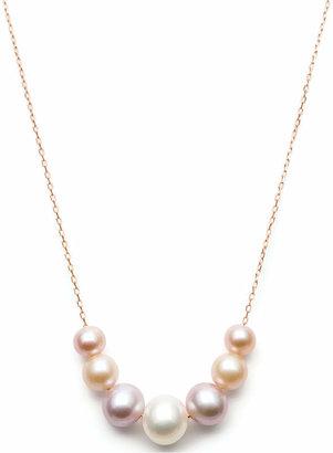 Belle de Mer Multi-Cultured Freshwater Pearl Frontal Necklace (6-9-1/2mm) in 14k Rose Gold