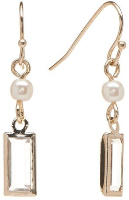 Lauren Conrad gold tone simulated crystal & simulated pearl drop earrings