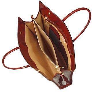 Pratesi Ladies' Polished Dark Brown Leather Classic Briefcase