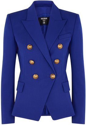 Balmain Cobalt Blue Double-breasted Wool Blazer
