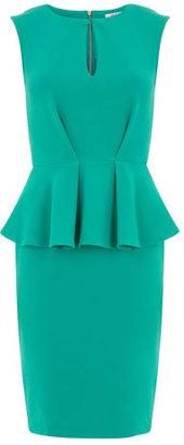 Dorothy Perkins Green split neck peplum dress
