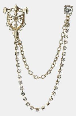 Topman Crest Chain Lapel Pin Crystal