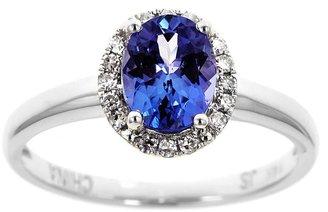 Oval Tanzanite & 1/10 ct tw Diamond Halo Ring,14K Gold