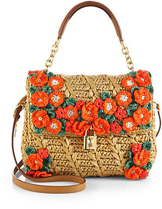 Dolce & Gabbana Miss Dolce Raffia Flower Top-Handle Bag