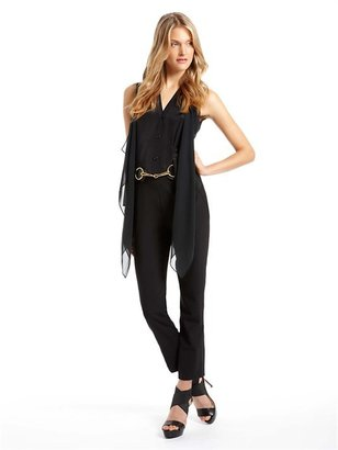 DKNY Sleeveless Jumpsuit With Ruffle Top