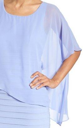 Adrianna Papell Petite Women's Chiffon Overlay Shutter Pleat Sheath Dress