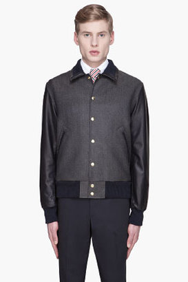 Thom Browne Navy wool twill and leather varsity jacket