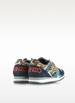 Kenzo Blue Suede with Flying Tiger Print Sneaker