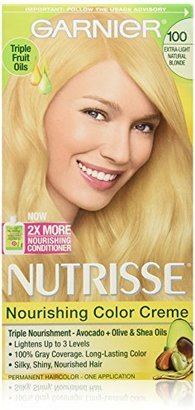 Garnier Nutrisse Nourishing Color Creme, 100 Extra-Light Natural Blonde (Chamomile) (Packaging May Vary) $7.99 thestylecure.com