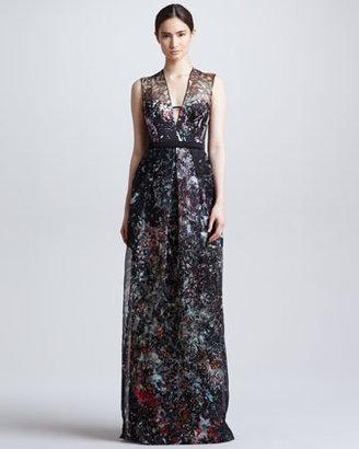 J. Mendel Splatter-Print Organza Illusion Gown, Black/Multicolor