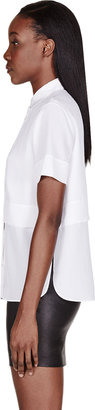 Alexander Wang White Silk Chiffon & Crepe Short Sleeve Blouse