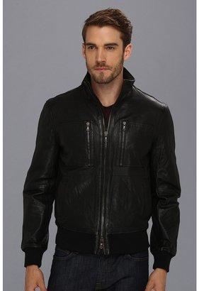 John Varvatos Leather Aviator Jacket (Black) - Apparel