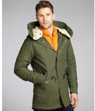 Scotch & Soda olive cotton and nylon quilted inner panel hooded coat