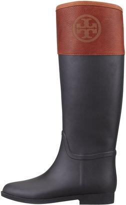 Tory Burch Diana Rubber Riding Boot, Black/Almond