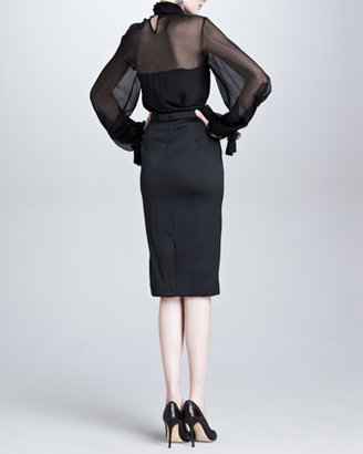 Oscar de la Renta Duchess Satin Pencil Skirt, Black