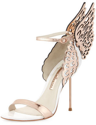 Sophia Webster Evangeline Angel Wing Sandal, Rose Gold/White $575 thestylecure.com