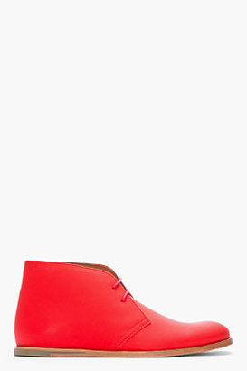 Opening Ceremony Red Rubberized Leather Chukkas