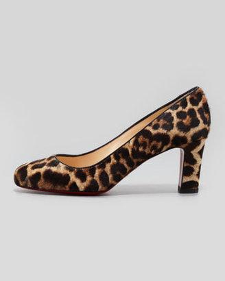 Christian Louboutin Mistica Low-Heel Calf Hair Red Sole Pump, Leopard