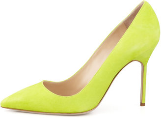Manolo Blahnik BB Suede Pointed-Toe Pump, Lime Green