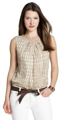 Jones New York Collection Pleated Neck Shell