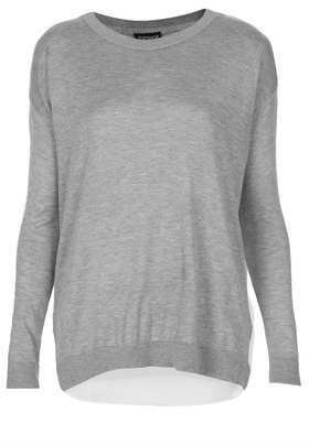 Topshop Knitted Jumper With Woven Back