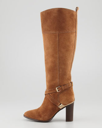 Tory Burch Livingston Suede Riding Boot, Mocha
