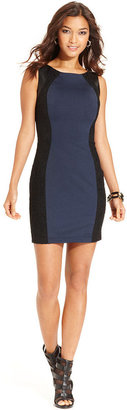 GUESS Dress, Sleeveless Faux-Leather Lace Colorblock