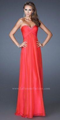 La Femme Basic Strapless Sweetheart Colum Prom Dresses