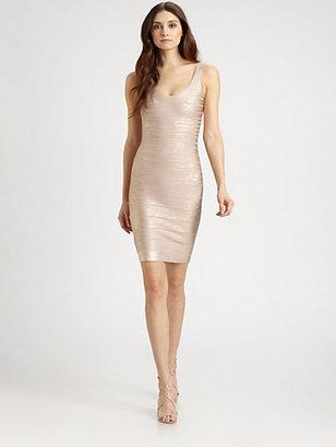 Herve Leger Foil U-Neck Bandage Dress