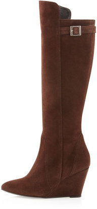 Charles David Estela Suede Wedge Boot, Brown