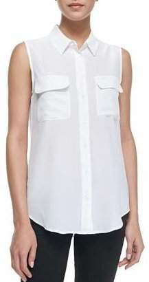 Equipment Slim Signature Sleeveless Blouse, Bright White $188 thestylecure.com