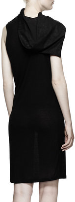 Rick Owens Calla Leather-Collared Tunic Dress, Black
