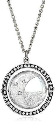 "Moritz Glik Kaleidoscope"" 18K and 14K White Gold Floating Diamond Crescent Pendant Necklace"