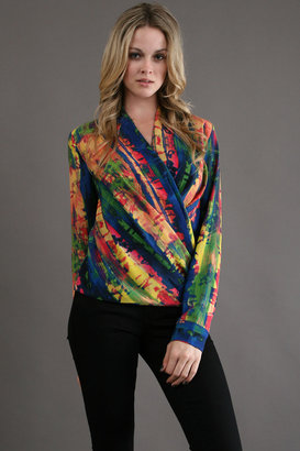 Zoa Drape Wrapped Front Blouse in Picasso