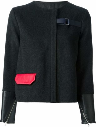 Jamie Wei Huang contrasting cuffs and pocket straight jacket