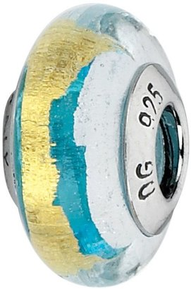Murano Prerogatives Turquoise/White/Gold Italian Glass Bead