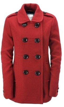 Aeropostale Solid Ribbed Wool Military Coat