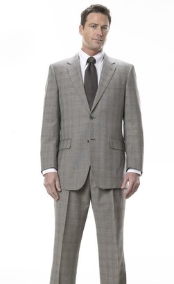 Jos. A. Bank Signature 3-Button Wool Suit- Cream/Black Plaid with Rust Deco
