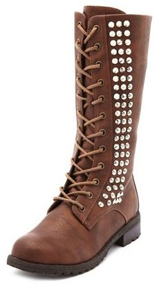 Charlotte Russe Studded Lace-Up Combat Boot