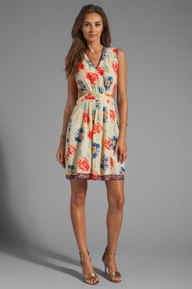 Anna Sui Watercolor Poppies Print Clip Dot Cutout Dress