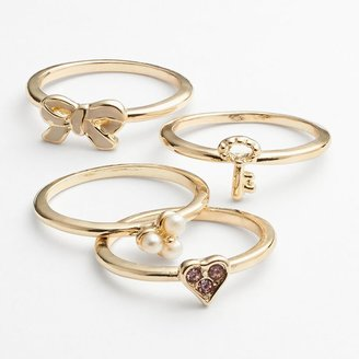 Lauren Conrad gold tone simulated crystal and simulated pearl bow and heart stack ring set
