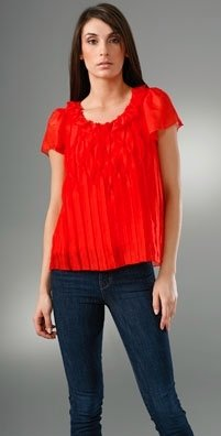 Sweetface Pleated Short Sleeve Top