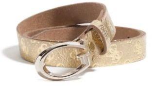 GUESS Metallic Gold-Tone Logo Belt