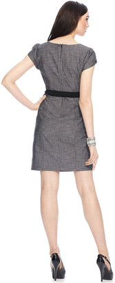 Amy Byer Petite Dress, Cap Sleeve Belted Textured Sheath