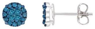 Ice.com 1/2 Carat Blue Diamond Sterling Silver Earrings w/Blue Rhodium